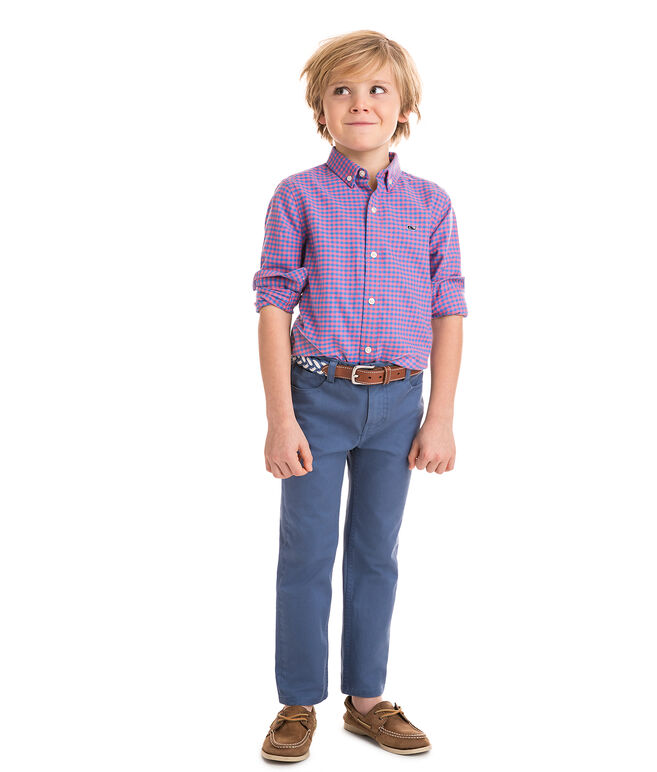 Boys Gorda Cay Gingham Flannel Whale Shirt