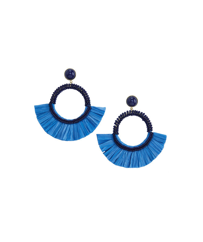 Beaded Raffia Fan Earrings