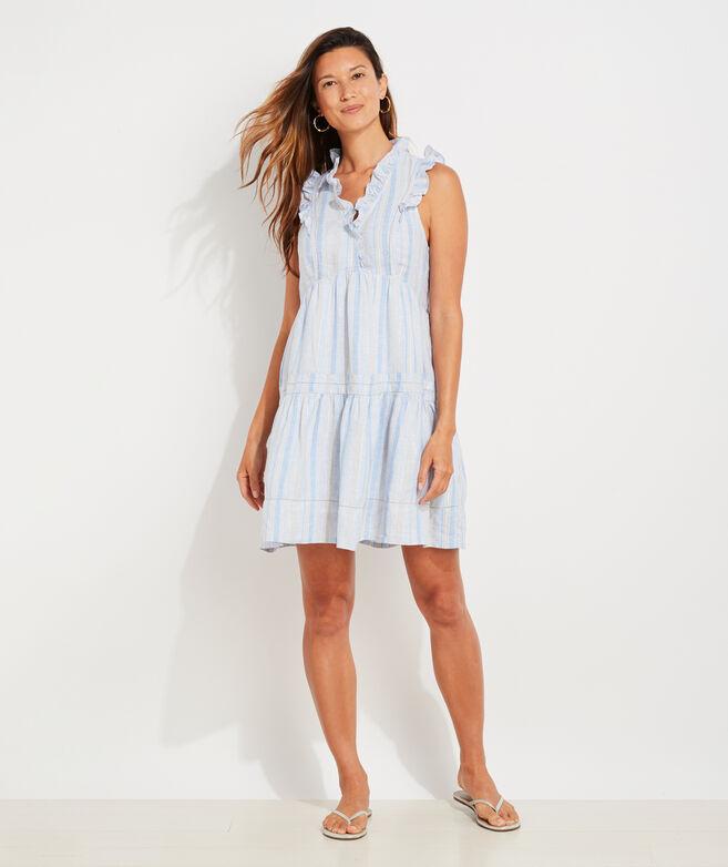Shine Stripe Tiered Ruffle Dress