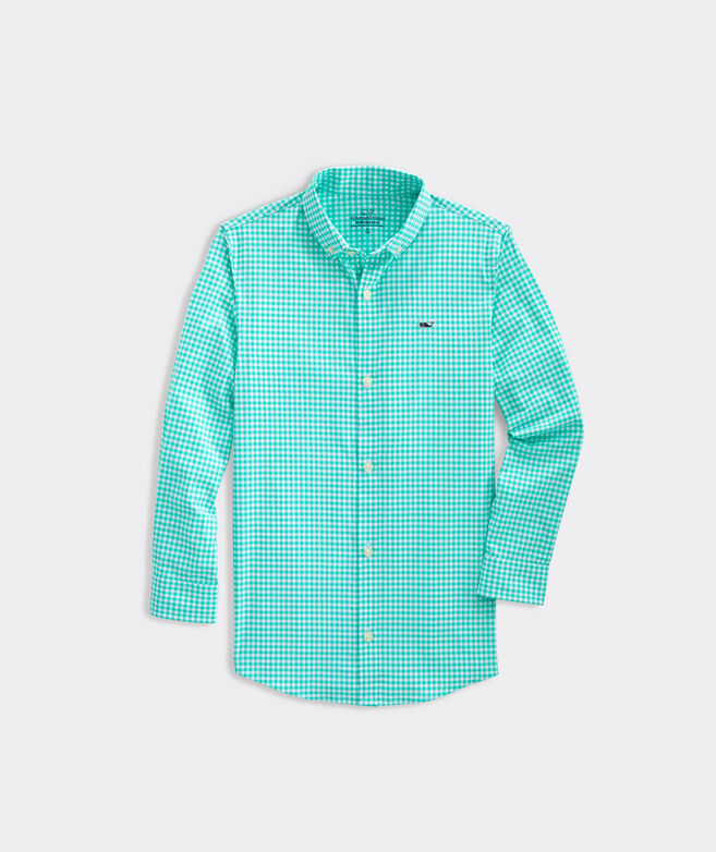 Boys' Arawak Gingham On-The-Go Performance Whale Shirt