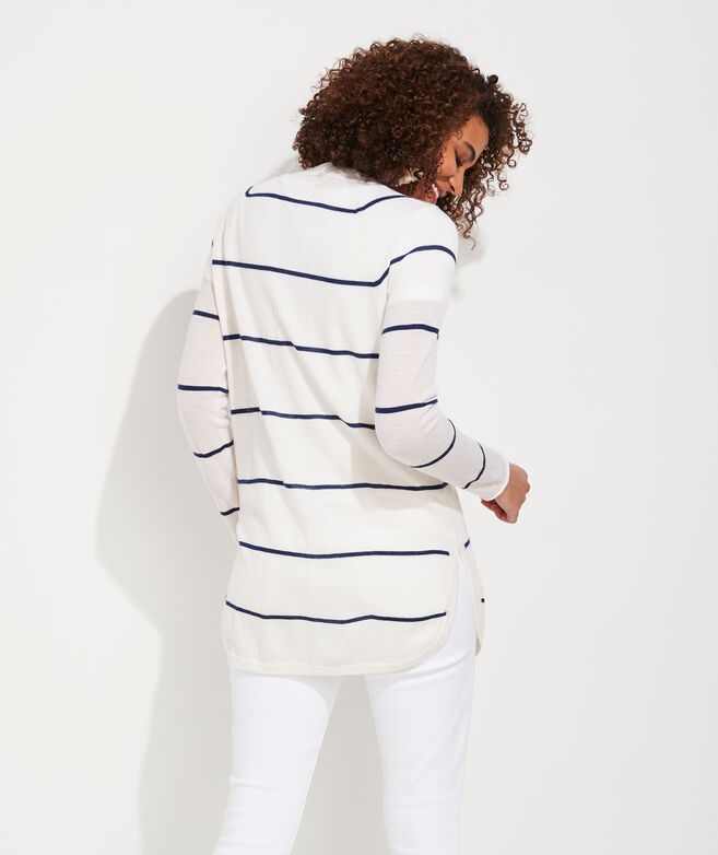 Striped Curved Hem Open Cardigan