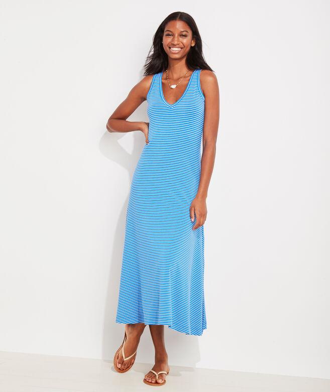 V-Neck Striped Maxi Dress