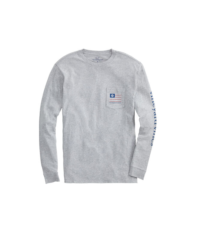 Christmas Flag Long-Sleeve Pocket Tee