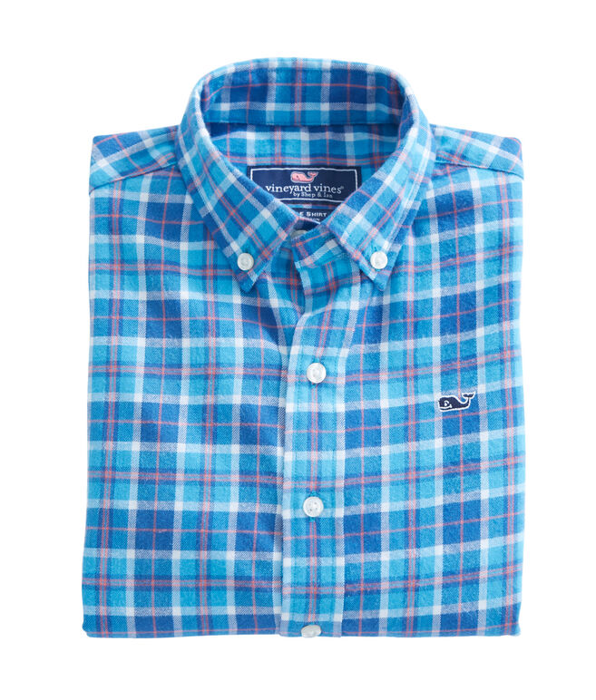 Boys Plaskett Creek Plaid Flannel Whale Shirt