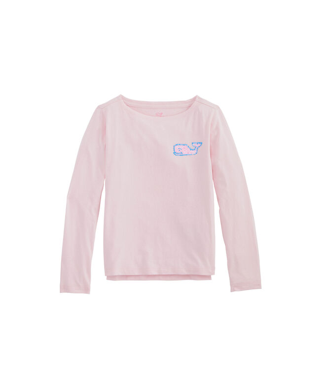 Girls' Flip Sequins Whale Boatneck Long-Sleeve Tee