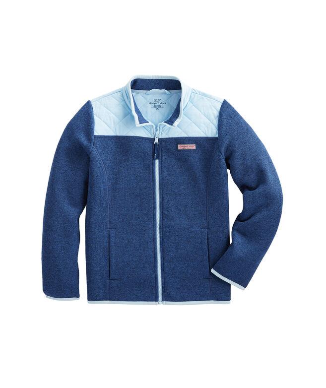 Girls' Sweater Fleece Quilted Shoulder Full-Zip Jacket