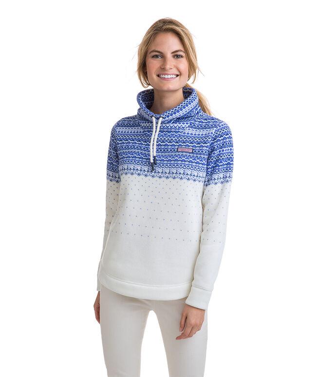 Fair Isle Sweater Fleece Funnel Neck Shep Shirt