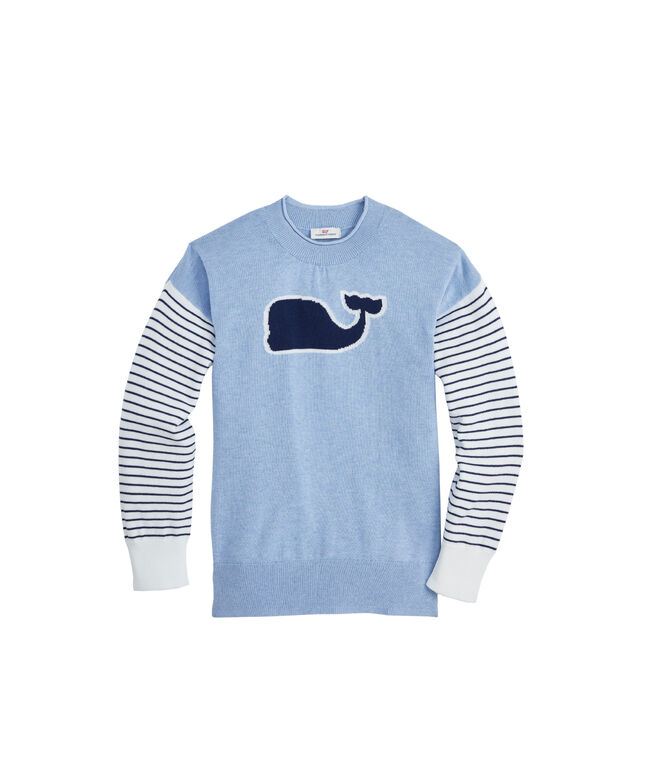 Girls Whale Intarsia Relaxed Crewneck Sweater