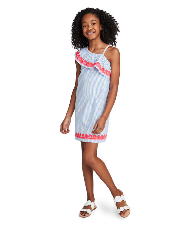 Girls Stripe Embroidered One Shoulder Dress