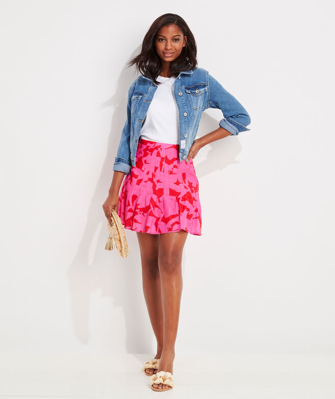 Tropical Floral Pintuck Skirt