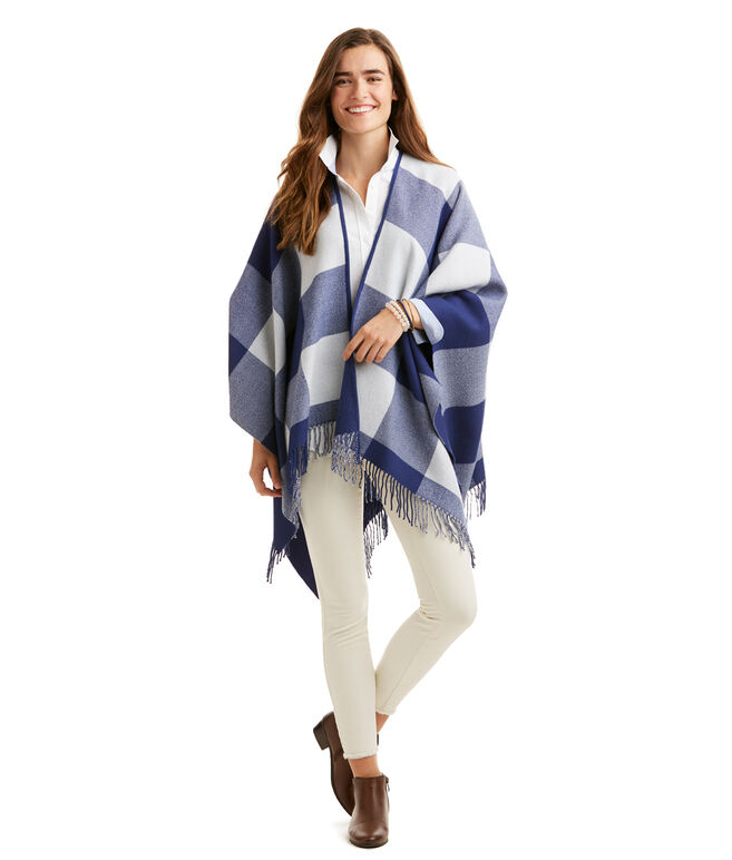 Buffalo Check Wool Cape