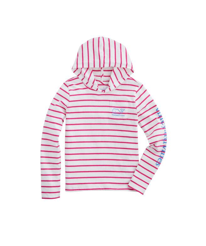 Girls Long-Sleeve Stripe Hoodie Tee
