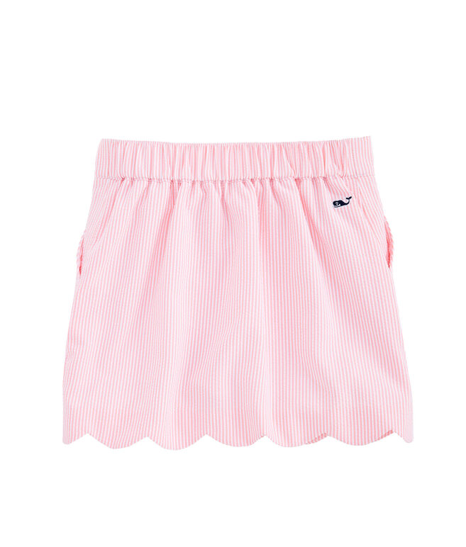 Girls Seersucker Scallop Skort