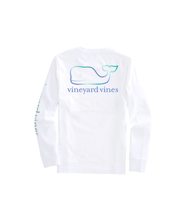 Girls' Three Tone Ombre Whale Long-Sleeve Pocket Tee