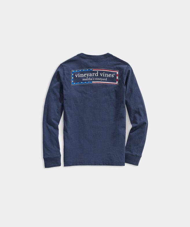 Boys' Americana Logo Box Long-Sleeve Pocket Tee