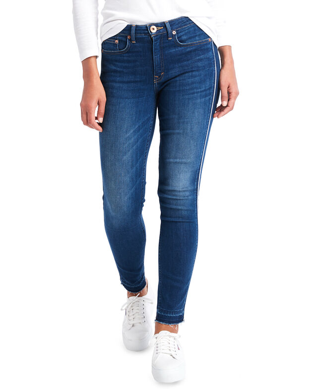 Jamie High Rise Corded Cropped Indigo Jeans