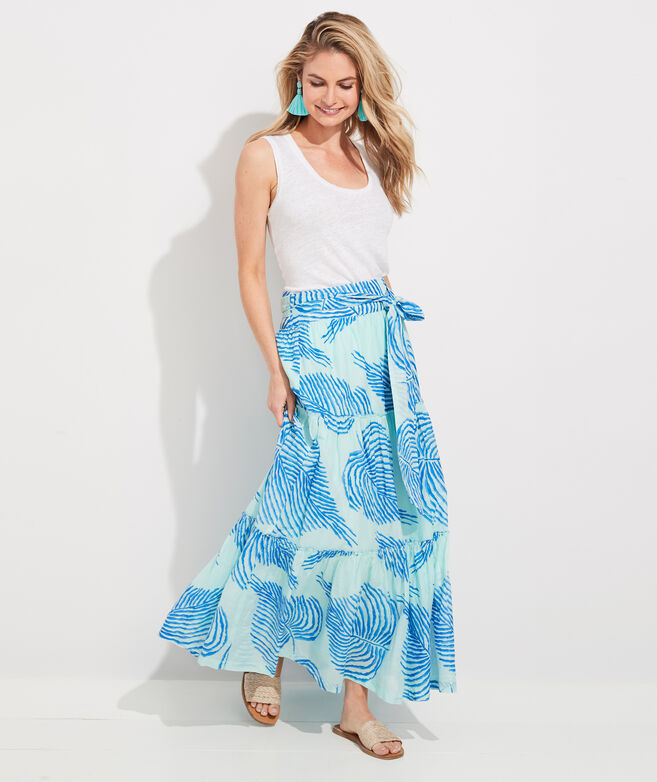 Palm Frond Tie-Waist Maxi Skirt