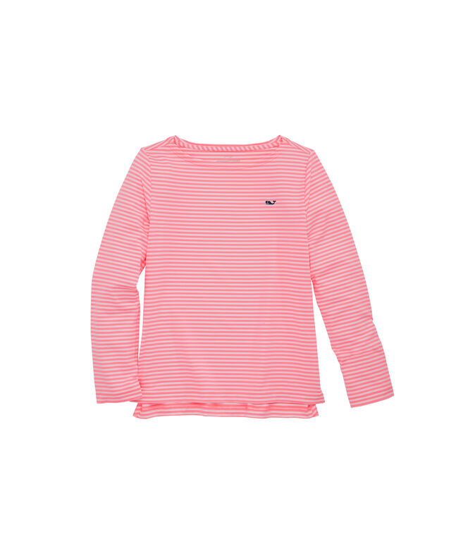 Girls Boatneck Sankaty Stripe Long-Sleeve Simple Tee