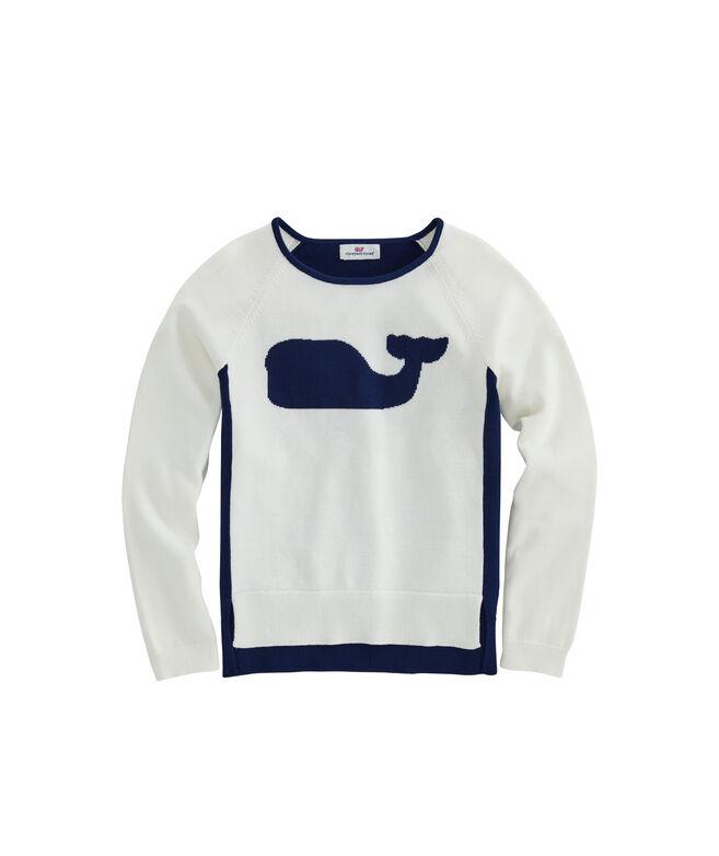Girls Cotton Raglan Relaxed Whale Intarsia Crewneck Sweater