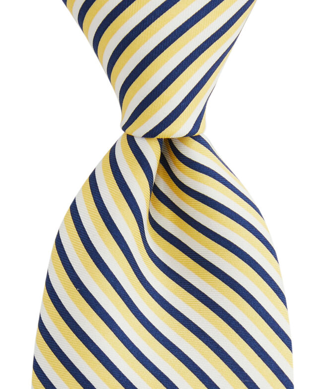 Three Color Stripe Printed Tie