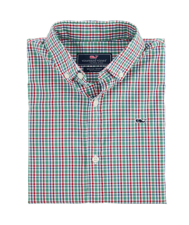 Boys Merry Arawak Gingham Whale Button-Down Shirt