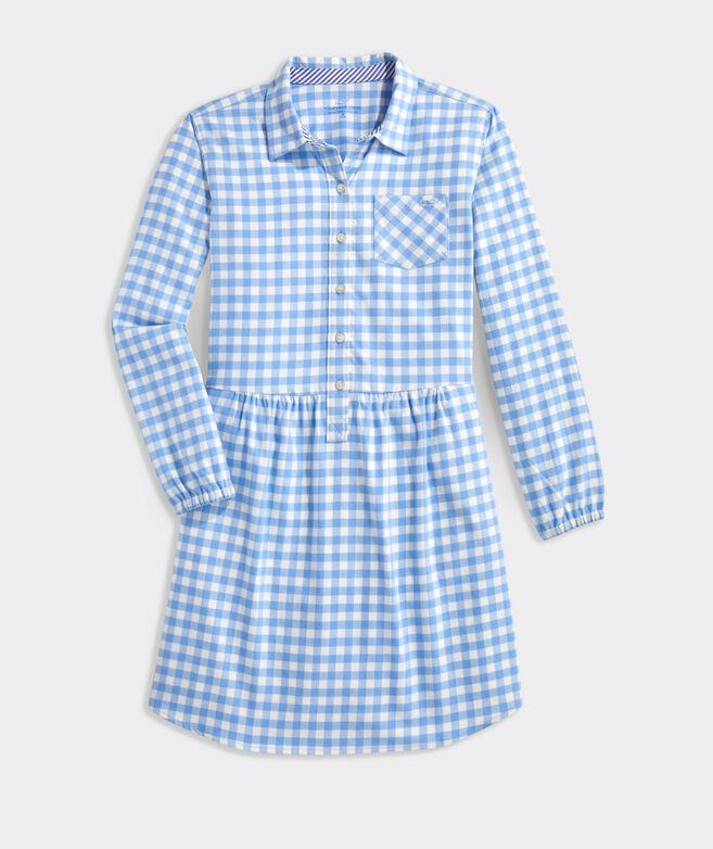 Girls' Gingham Flannel Shirt Dress