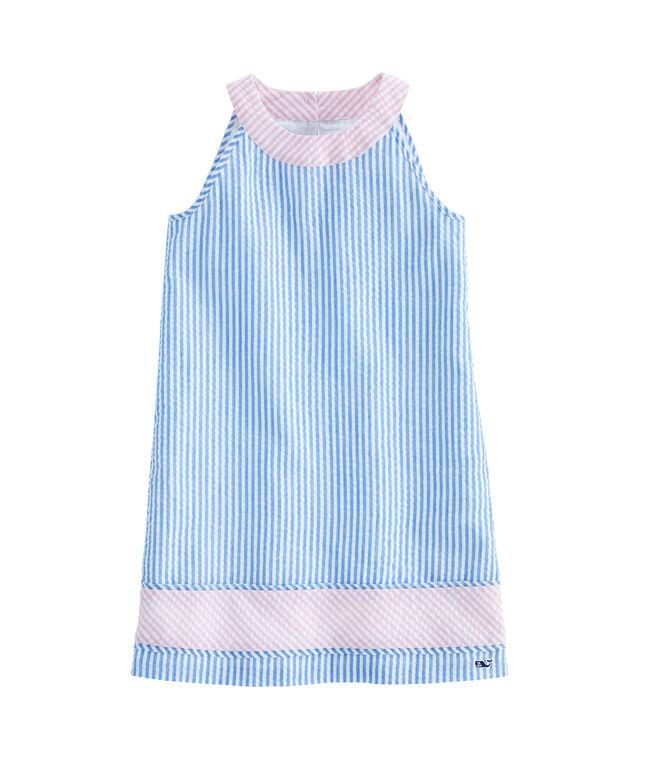Girls Seersucker Block Dress