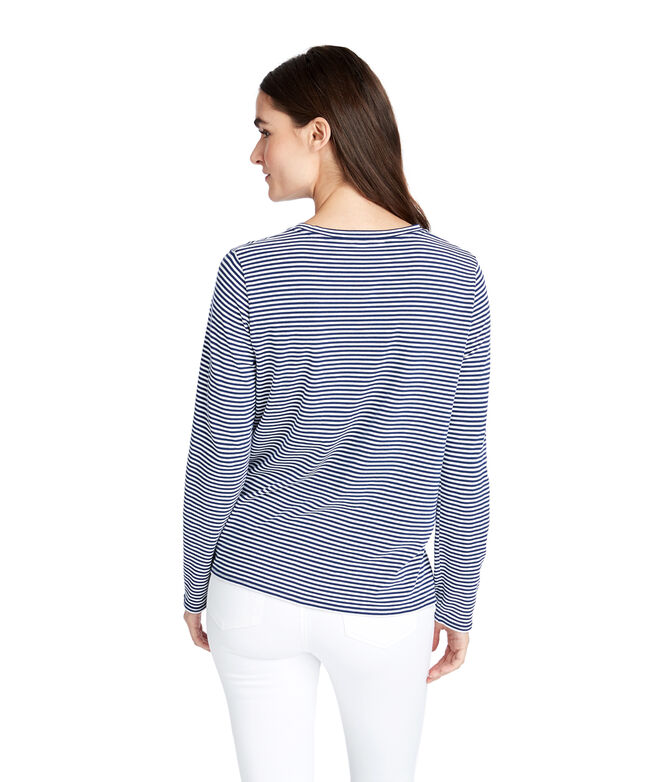 Striped Tie Front Knit Top