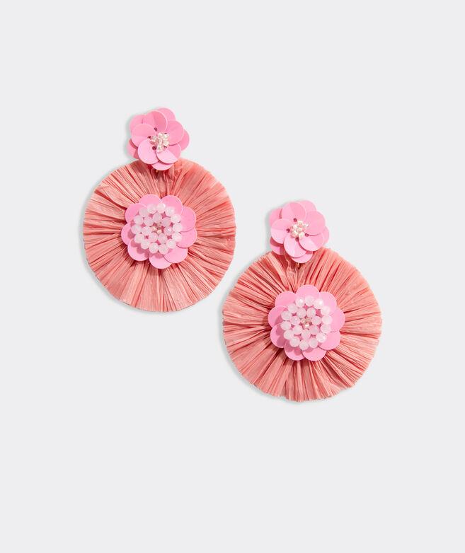 Raffia Fan Floral Beaded Earrings