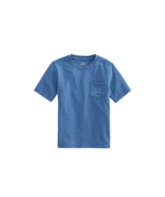 Boys Heathered Vintage Whale Pocket T-Shirt