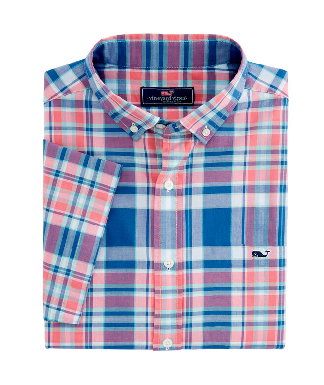 OUTLET Men's Freeport Plaid Poplin Classic Short Sleeve Whale Shirt