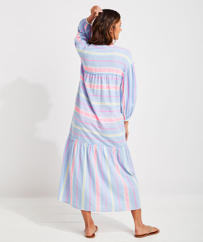 Beachy Stripe Tie-Front Cover-Up