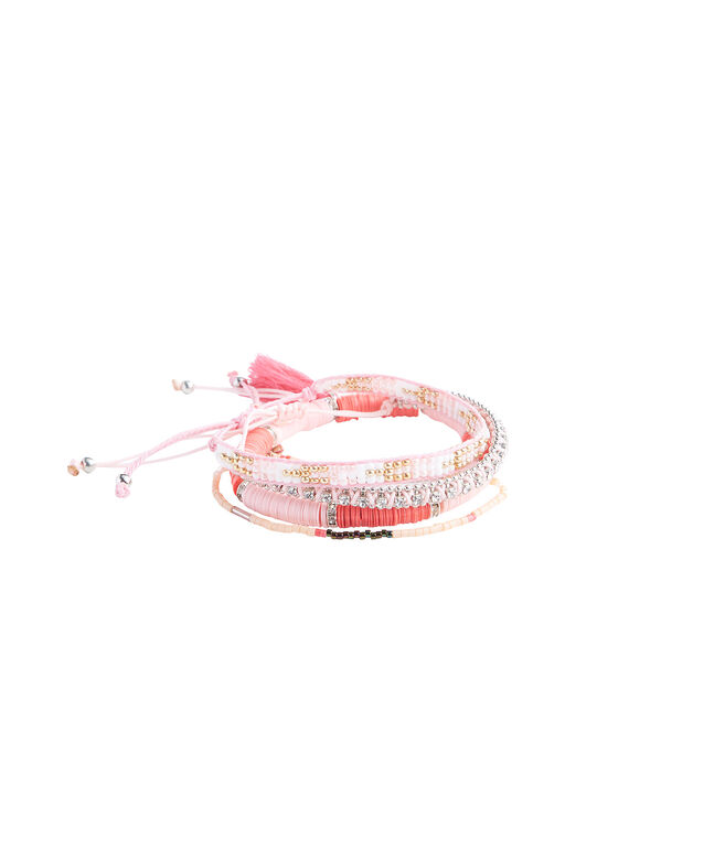 Bright Pink Bead Bracelet Set