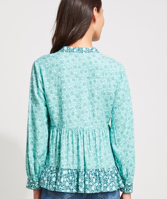 Sea Floral Tiered Top