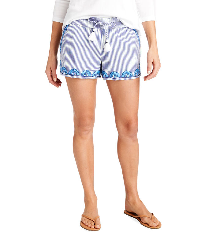 Striped Embroidered Hem Pull-On Shorts