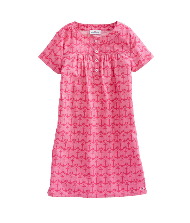 Girls Anchor Printed Popover Dress