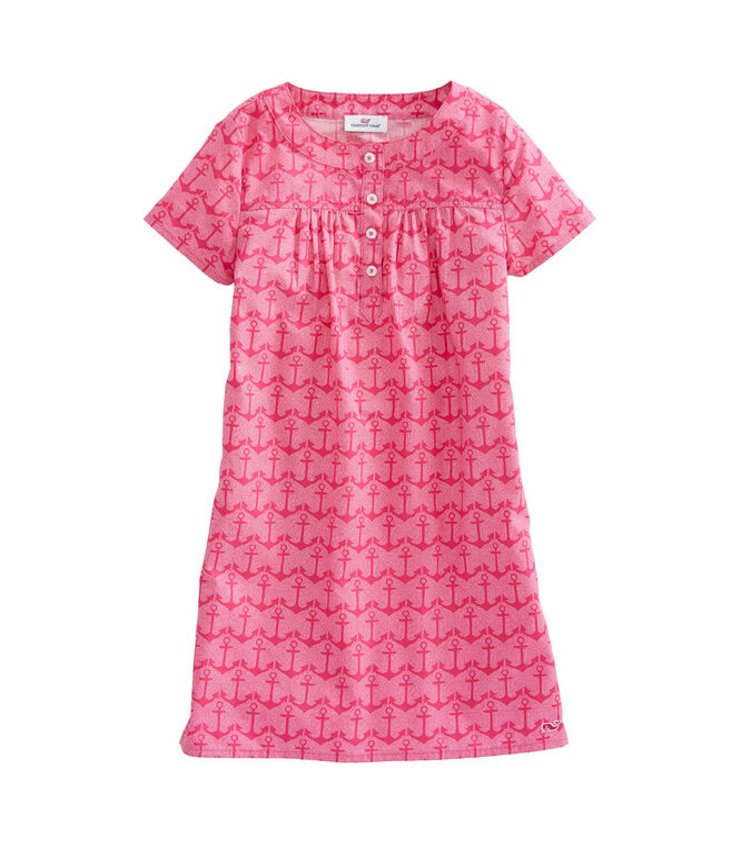 Girls Anchor Printed Popover Dress