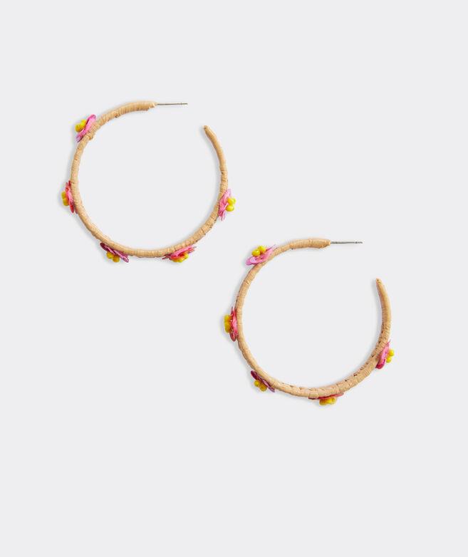 Floral Raffia Hoop Earrings