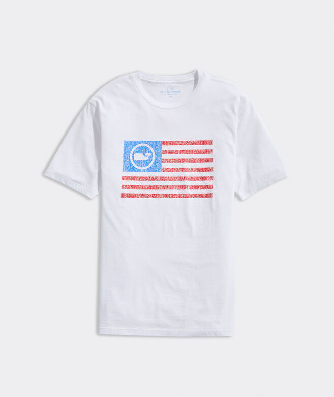 Distressed Whale Dot Flag Short-Sleeve Tee