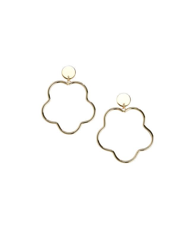 Scallop Flower Gold Hoop Earrings