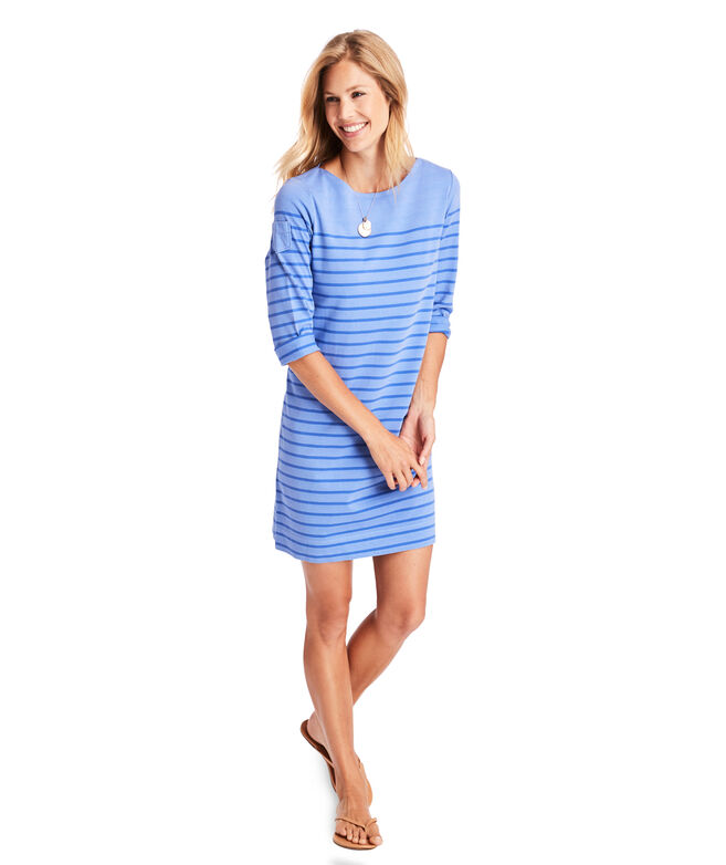 Over-Dyed Long-Sleeve Stripe Knit Dress