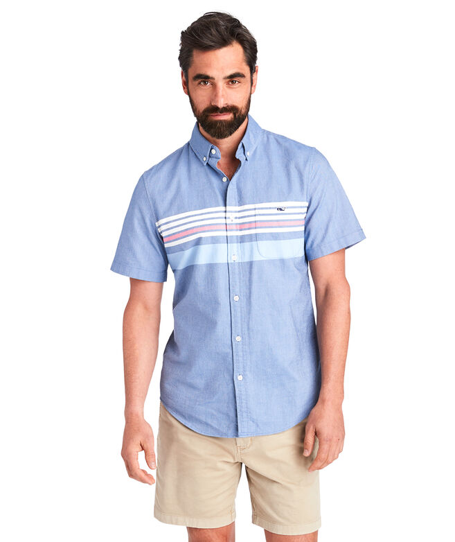 Short-Sleeve Sandy Stripe Slim Tucker Shirt