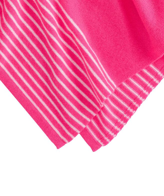 Stripe Border Knit Poncho
