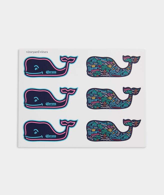 Corona® x vineyard vines Neon Sign Whale Sticker Pack