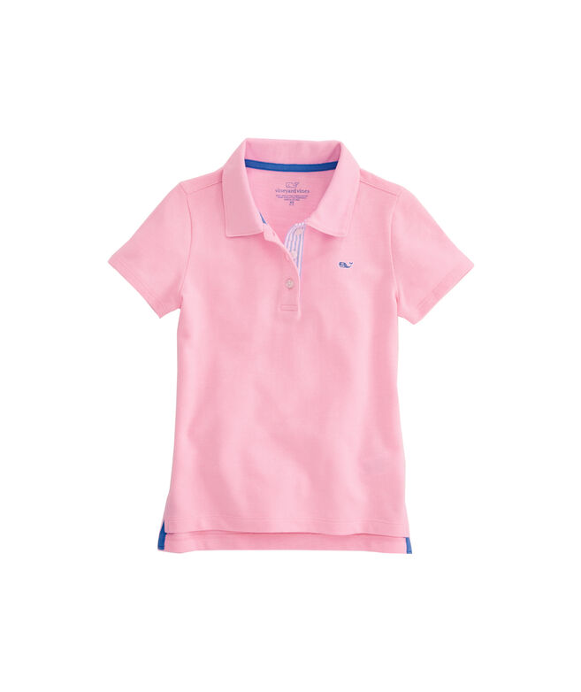 Girls Seersucker Undercollar Polo