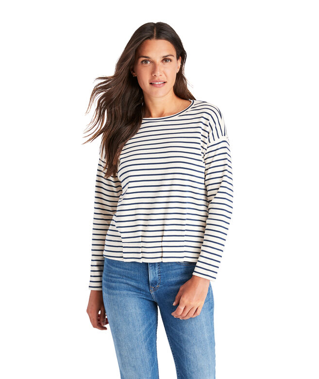 Striped Gathered Hem Top
