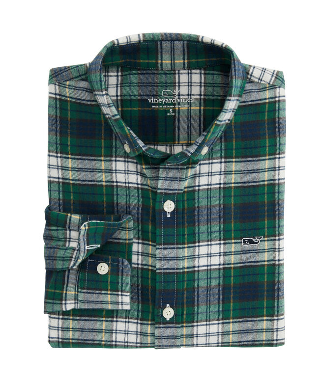Boys Grove Isle Whale Button-Down Flannel Shirt