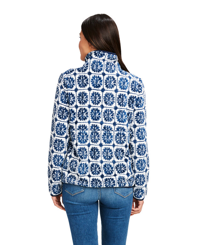 Island Tile Printed Teddy Fleece 1/2-Zip Pullover