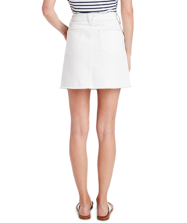 Raw Hem White Denim Skirt