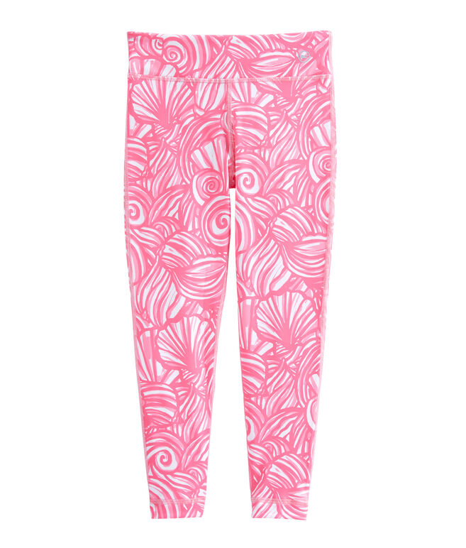 Girls Nautilus Shell Print Performance Leggings
